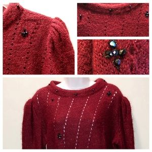 2/$28 Red Knit Boatneck Sweater w Embellishment XL